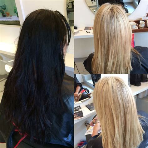 dorty blonde hair transformation from brown hair before and after black to blonde olaplex hair