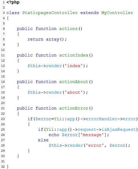 set layout yii framework membuat halaman statis di yii framework