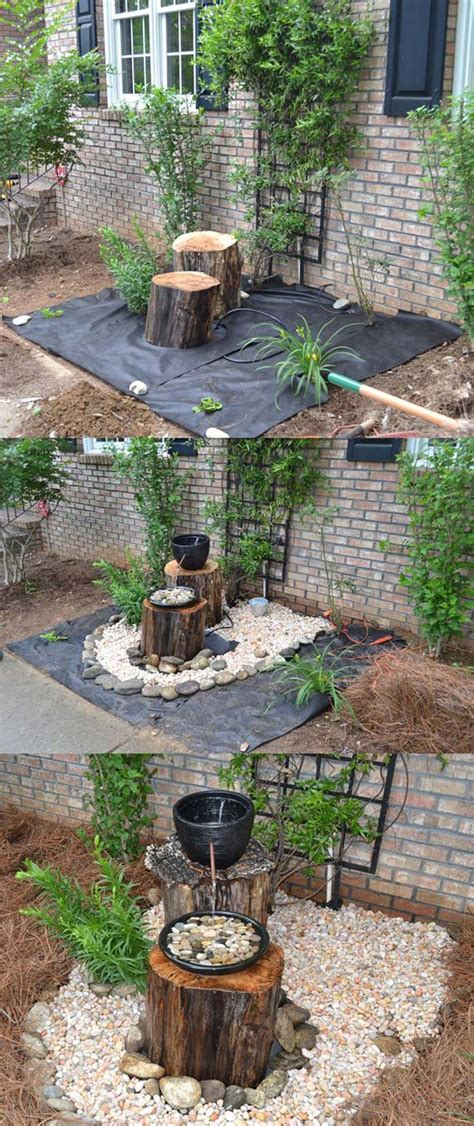 diy backyard fountains build a log or wood slice fountain for backyard amazing