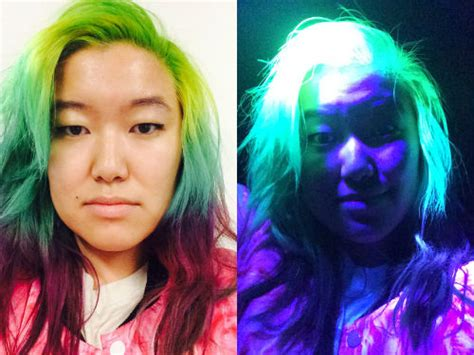glow in the hair color we were intrigued by glow in the hair so we tried it