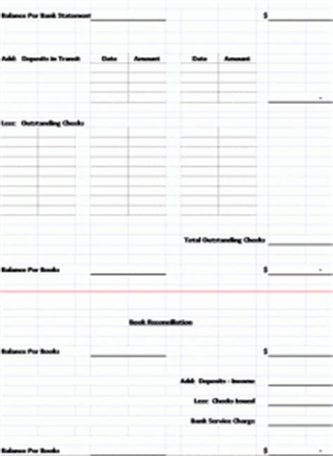 Bank Reconciliation Template Format Exle Monthly Reconciliation Template