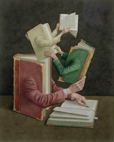 libro an artist of the whimsical watercolor works depict books as people going about everyday life designtaxi com