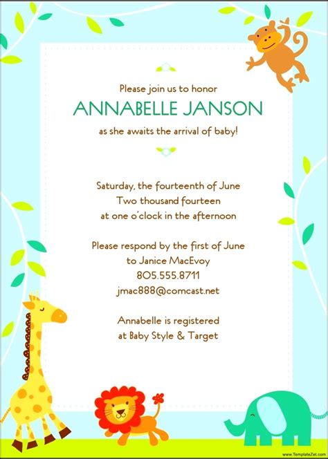 shower invitation templates free baby shower invitation template free templatezet