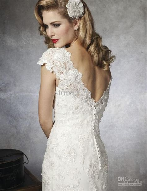 hairstyles for v cut dresses 2016 ivory vintage wedding dresses cap sleeve scoop lace