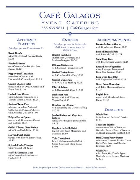 catering menus templates catering menu templates that are easy to customize
