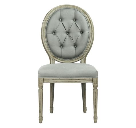 pair madeleine oval tufted green linen dining chair