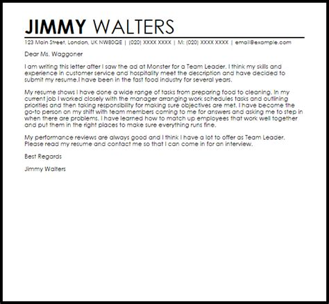 Team Leader Cover Letter Sample   LiveCareer