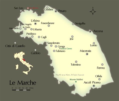 map  travel guide  marche region  central italy