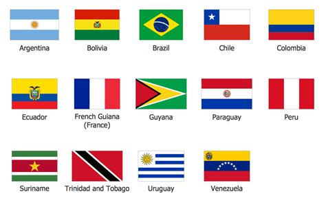 south america map with flags map of continents