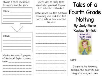 tales of a fourth grade nothing book report tales of a fourth grade nothing tri fold tri fold