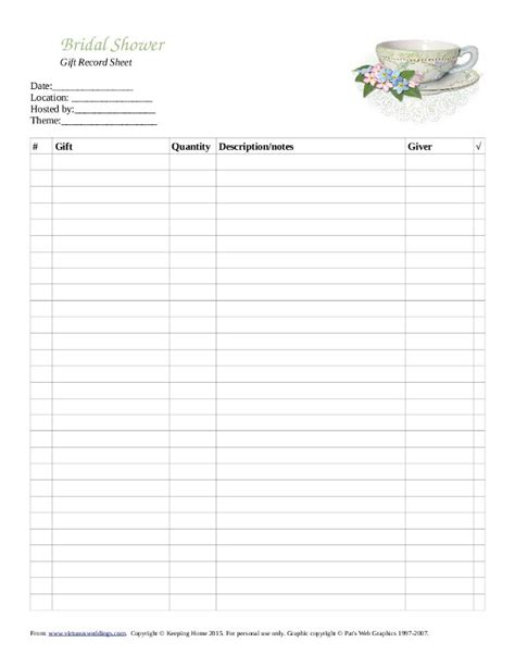 bridal shower gift record template free printable gift record sheet for a bridal tea