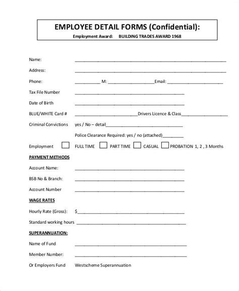 new employee form template 50 sle forms sle templates