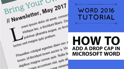 tutorial video word how to add a drop cap in microsoft word word 2016