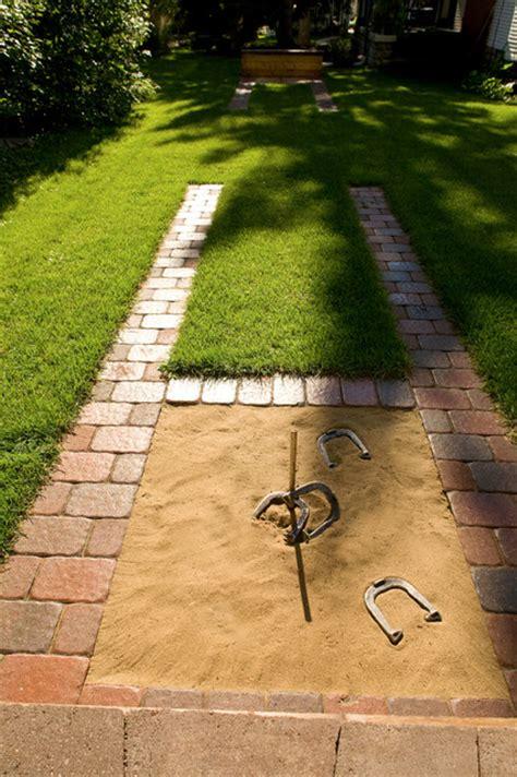 backyard horseshoe pits backyard horseshoes traditional landscape
