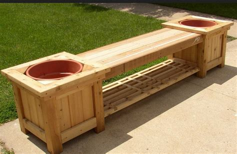 cool garden bench planter plans design home inspirations