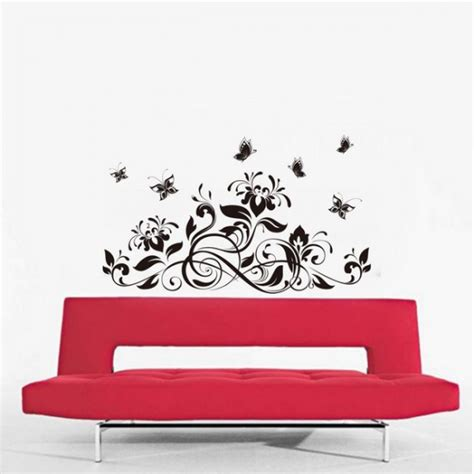 size wall stickers wide black floral wall stickers 120x70 cm size
