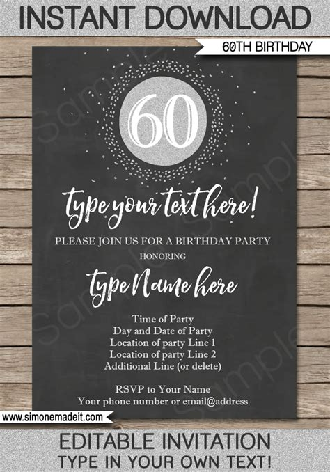 Chalkboard 60th Birthday Invitations Template Editable Printable Diy Birthday Invitation Editable Templates