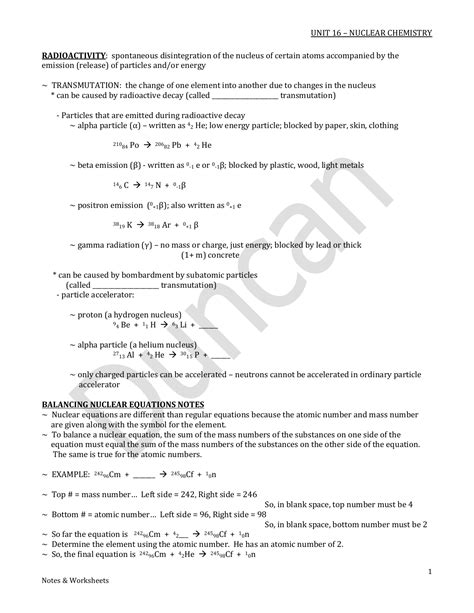 Nuclear Equations Worksheet Answers by Nuclear Equation Worksheet Worksheets