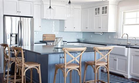 Square Blue Kitchen Island with French X Back Counter