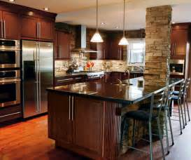 dark cherry cabinets in casual kitchen kitchen craft