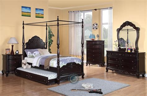 poster bedroom sets with canopy cinderella dark cherry youth canopy poster bedroom set