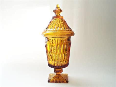 My M Ms Glass Bowl vintage dish glass apothecary jar pedestal