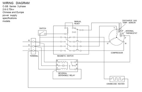semi hermetic compressor wiring diagram single phase 3