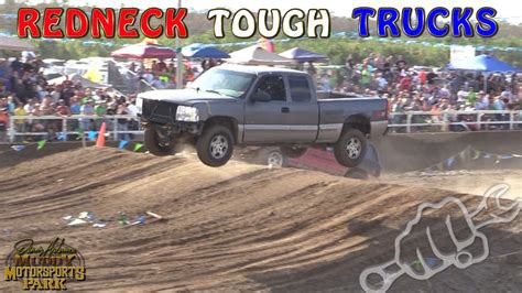 redneck tough truck racing north  south   damm park