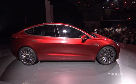 tesla model  red side profile