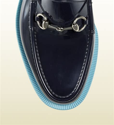 gucci rubber horsebit loafer lyst gucci rubber horsebit loafer in blue for