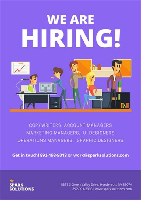 template of posters with business card purple office illustration recruitment business poster