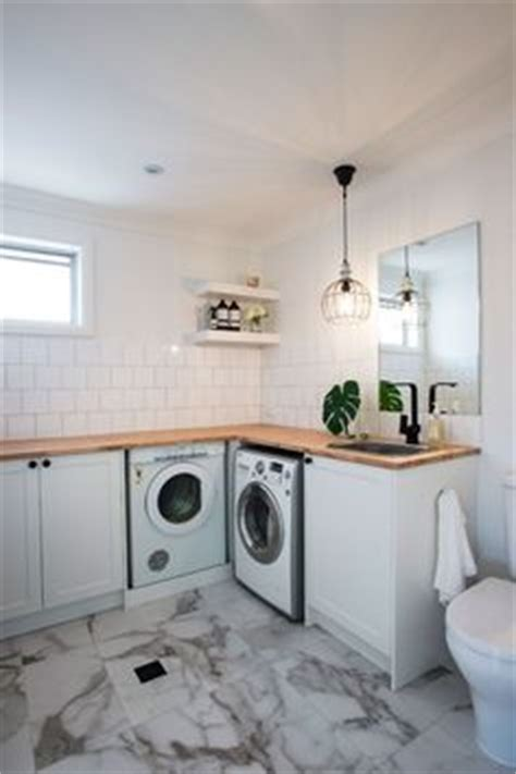 Laundry Subway Tile Timber Top Bench Our Dream Home Timber Laundry