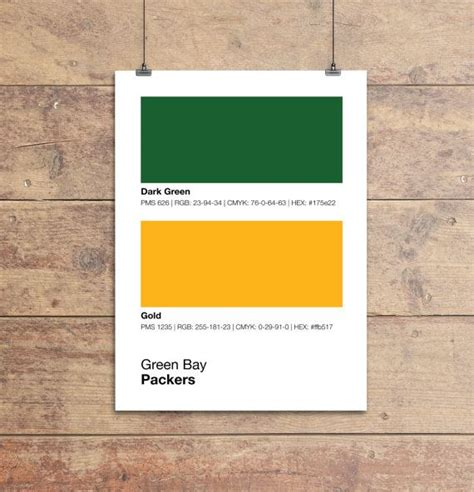 green bay packers pantone poster nfl cave packer by sproutjam diy caves