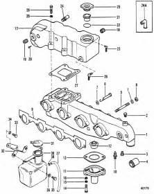 mercruiser 470 2 barrel mercury 224 i l4 1983 1984 exhaust manifold exhaust parts