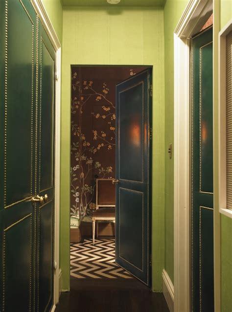 green wallpaper hallway chevron painted floor contemporary laundry room blue