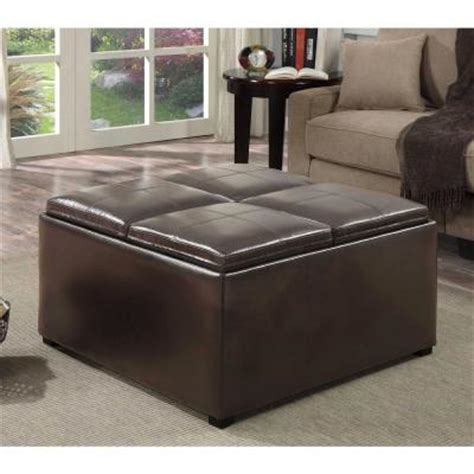 Brown Leather Ottoman Coffee Table With Storage Simpli Home Avalon Square Faux Leather Coffee Table