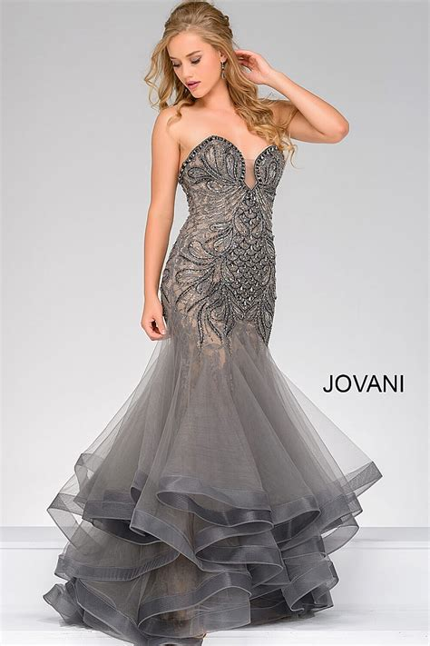 store locator jovani fashion gunmetal strapless mermaid gown with beaded adornments
