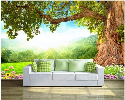 custom mural photo  wallpaper fresh grass trees