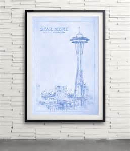 Blueprint Seattle Space Needle Tower Blueprint Print Seattle Washington By