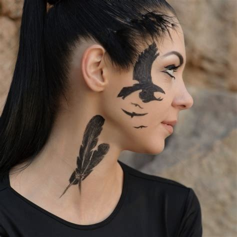 tattoo girl raven exciting raven tattoo raven face tattoo on tattoochief com