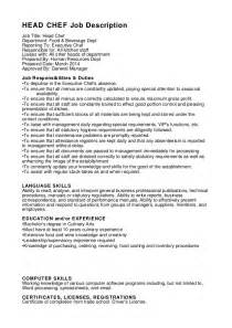 Chef Duties And Responsibilities chef description