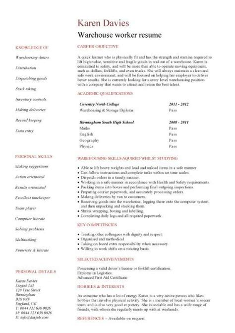 Warehouse Worker Resume by Warehouse Assistant Cv Template Description Sle