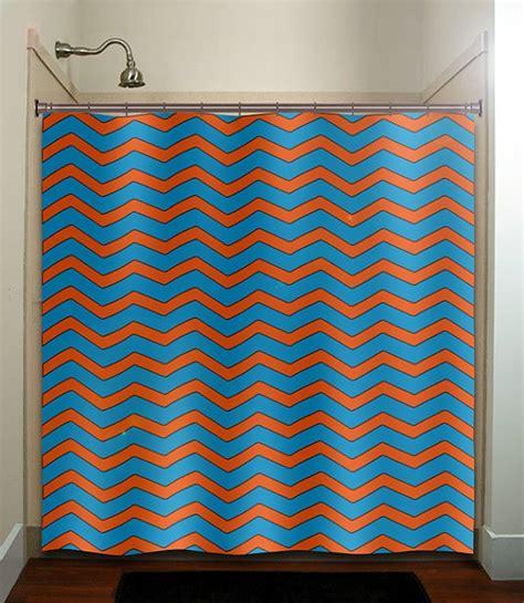 Turquoise Chevron Curtains Turquoise Blue Orange Chevron Shower Curtain Bathroom Decor Fabr