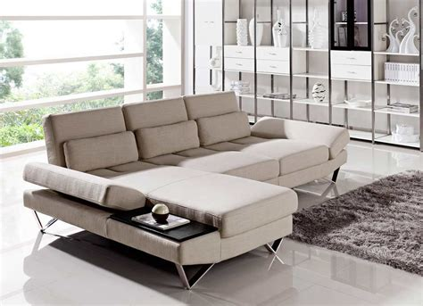 Tables For Sectional Sofas by Soft Fabric Sectional Sofa With Built In End Table Vg208