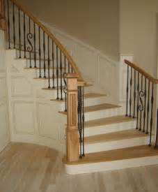 Round Stair Railing by Curved Oak Staircase With Wrought Iron Railings Diy