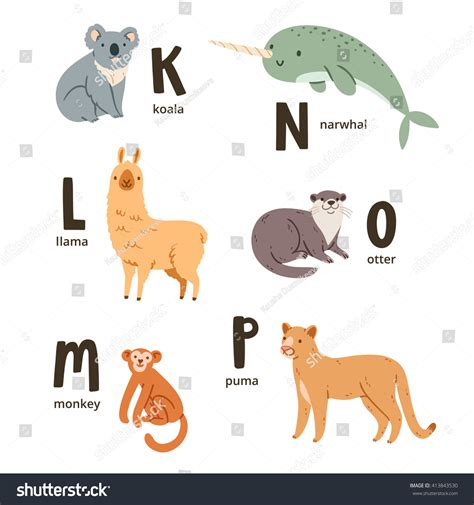 alphabet with animals stock vector animal alphabet letters k p vector stock vector 413843530