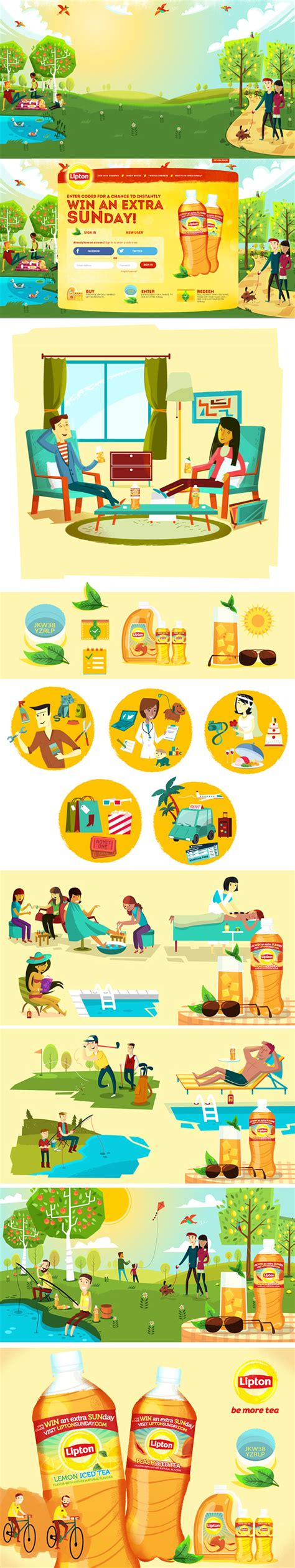lipton akll ay barda on behance lipton sunday illustrations on behance