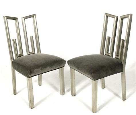 Silver Leaf Dining Table Mont Silver Leaf Dining Or Table And Four Chairs For Sale At 1stdibs