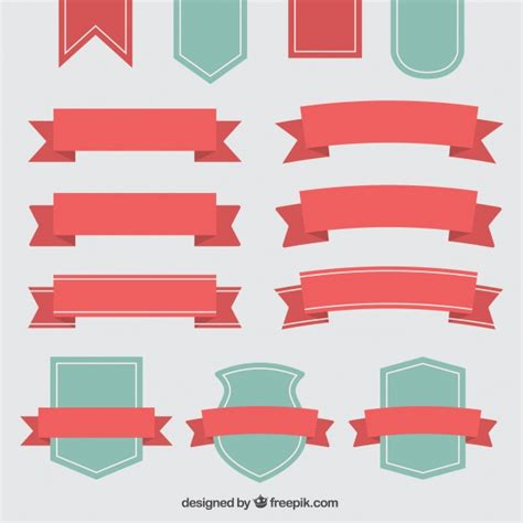 ribbon templates for photoshop beautiful decorative vintage ribbons and badges vector