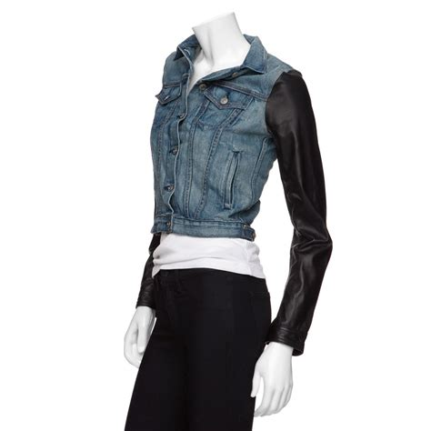 Crows Denim Jaket Leather Exclusive rag bone exclusive leather sleeve denim jacket in blue lyst
